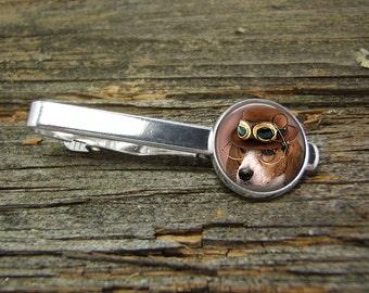 Steampunk Dog Beagle Goggles Glasses Hat Tie Clip-Silver-Gold-Jewelry Box-Gift Box-Wedding-Keepsake-Man Gift-Groom-Groomsmen-Science Fiction