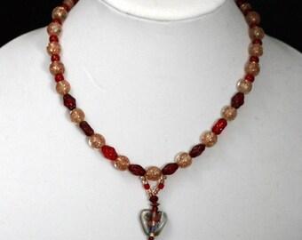Multi Colored Glass Heart Necklace