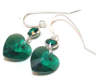 Emerald Heart Swarovski Earrings
