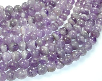 Amethyst Beads, 8mm (8.3mm) Round Beads, 15.5 Inch, Full strand, Approx 48 beads, Hole 1 mm (115054052)