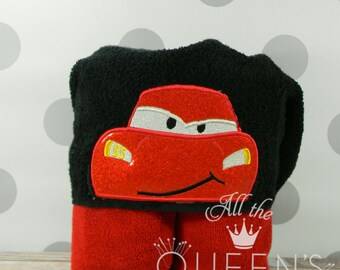 Kid's Red Race Car Hooded Towel for Bath, Beach, or Swimming Pool