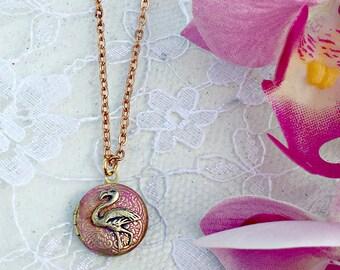 Vintage Flamingo Pink Miniature Gold Locket, Flamingo Necklace, Charm Necklace, Gold Flamingo Necklace, Flamingo Jewelry, Flamingo Gift