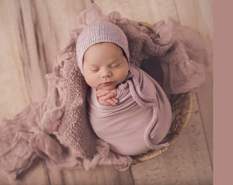 Newborn Girl Hat/ Lavender Prop Hat/ Newborn Hat with Knit Ties/ Baby Girl Knit Hat/ Photography Prop/ Newborn Prop Hat/ Lavender Girl Prop