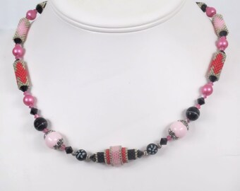 Pink and Black Peyote Beaded Necklace