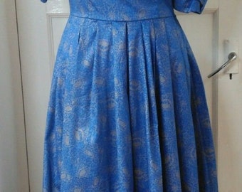 Vintage Laura Ashley Dress Gown Blue Gold Print 1980's 12 Made In England With Tags