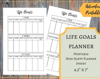 Life Goals - Printable Mini Happy Planner Insert, Life Planner, Long Term Goals Planner, 5 Year Plan, 10 Years Plan, Career Goals