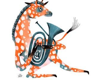 8x10 - Giraffe Playing Tuba - Art Print