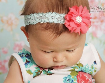 Coral and Aqua Lace Baby Headband..Newborn Headband.. Coral  and Mint Headband..Infant Headband....Baby Headbands