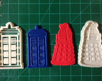 Dr. Who Tardis and Dalek  engraved cookie cutter