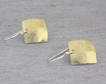 Geometric Brass Earrings. Square Brass Dangles with a hammered texture. Brass Jewellery. Brass Domed Earrings. Gift for Her : BsqDmHDvx.