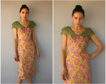 Vintage 1950s Dress • 50s Silk Cocktail Dress • 1960s Dress • 60s Wiggle Dress • 1960s Sheath Dress • 50s Dress -  (small)
