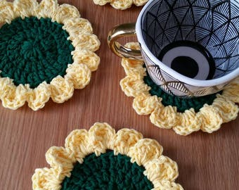 Sunflower Coaster Set / Sunflower Decor / Crochet Coasters / Sunflower Coasters / Crochet Sunflower Coasters / Flower Coasters / Set of 4