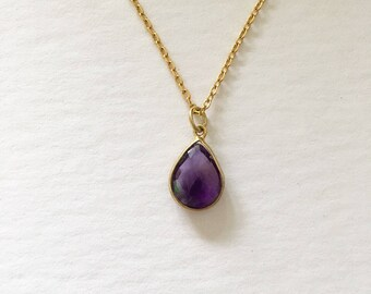 Amethyst Pendant Necklace-February Birthstone