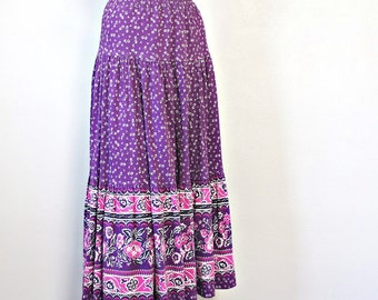 Vintage Gypsy Skirt 1980's Purple Cotton Boho Prairie Peasant Festival Elastic Waist Tiered Floral Size Tagged Small