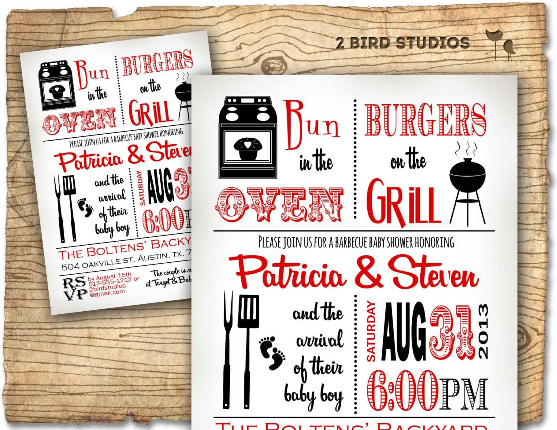 Baby shower invitation boy baby shower BBQ barbecue invite