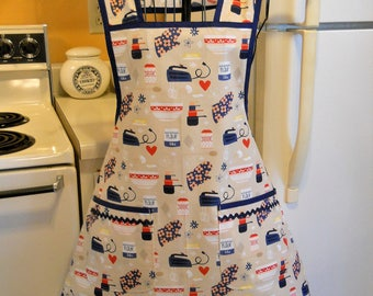 Women's Vintage Style Kitsch Full Apron in Red and Blue