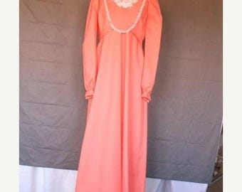 On Sale 1960's Victorian Style Mod Coral Formal Evening Party  Dress Full Length
