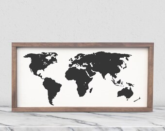 Framed world map etsy world map framed wooden sign world map art customizable farmhouse style sign gumiabroncs Gallery