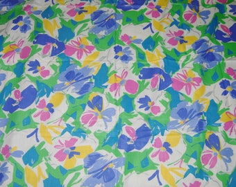 Floral Print Fabric, Bright Pastel Colors, Cotton , 2-1/2 Yards