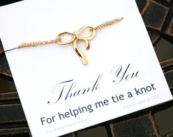 Set of 7,Bow bracelet,Silver or gold,Bridesmaid gift,personalized bridesmaid card,Wedding jewelry gift,Tie a bow,graduation gift,friendship