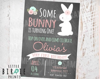 BUNNY BIRTHDAY INVITATION Chalkboard First Birthday Party Invitation Easter Party Some Bunny Is turning One Pink Mint  Easter