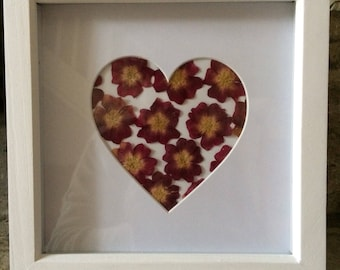 Framed floral art, dried flowers, pressed flowers, heart shape frame, heart picture, home decor, wall hanging