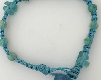 Sea Glass, Aqua, Chrysocolla, Recycled Glass, Macrame, Surfer Style OOAK Bracelet