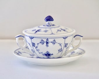 Royal Copenhagen Blue Fluted Plain Covered Soup Cream Bowl and Saucer Set #2199 First Quality Excellent Condition
