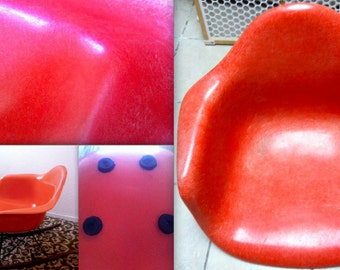 EAMES ORANGE RAR rare raised 3 dots embossed Herman Miller vintage fiberglass arm shell rocking chair orange armchair rocker