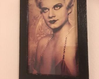 "Jean Harlow sepia print in a black frame 6x4"""