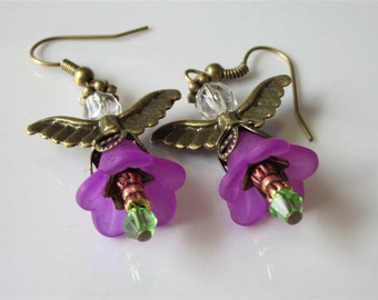 Garden Fairy Earrings, Flower Earrings, Purple Lucite, Flower Faeries, Summer Weddings, Beaded Dangles