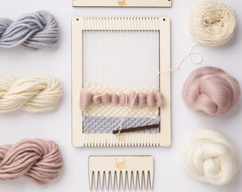 Weaving Loom Kit.  Small rectangular lap loom.  Learn to frame weave, tapestry.  Beginners learn to weave.