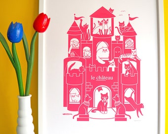 Le Château A2 Screen Print, Cats Screenprint, Cat Artwork, Cat Poster, Cute Cats Print, Pink Cat Print, French Print, Fun Animal Screenprint