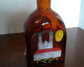 Vintage Germany Anton Riemerschmid Munchen Amber Liquor Bottle
