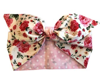 50s Vintage Pink Rose Polka Dot Head Scarf Tie