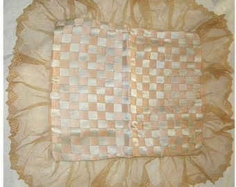 Antique Ribbon Work Pillow Flapper Silk Lace Cover 1920s