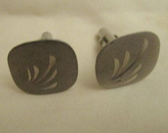 Cufflinks Sterling Vintage Square With Design by N-L