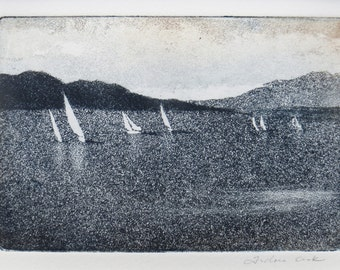 original etching and aquatint of the coast with sailing boats