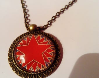 Long bronze chain necklace ethnic cabochon wax stars red blue