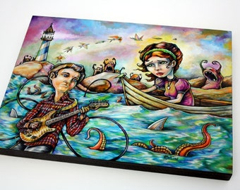 Water original mixed media illustration painting by Bryan Collins