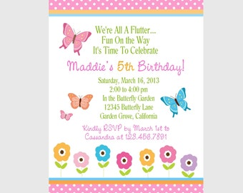 BUTTERFLY INVITATION / Girls Birthday Party/ Printable Digital File/ Personalized/Cute and Trendy Custom Girls Party Invitations