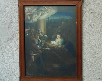 Antique Religious Chromolithograph Print Nativity Jesus Virgin Mary Madonna