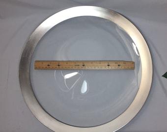 BIG Serving Platter Dorothy Thorpe Silver Rim Plate