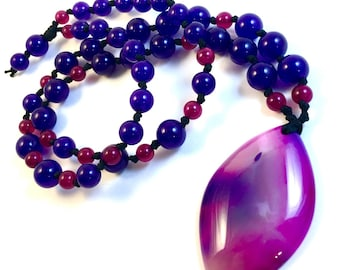 """Pink & Purple Agate Gemstone Necklace - Pearl Knotted Beaded Magical Necklace w/ Dyed Quartz, Amethyst, Agate Pendant - 24"""" Long"""