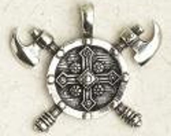 Sheild with Crossed Battle Axes-Viking-Celtic-Medieval-Pagan-Pewter-Pendant