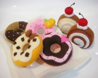 Donut and Jam Roll Felt Food Sewing pattern PDF