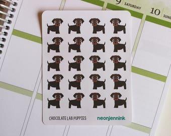 Chocolate Labrador Puppy Stickers (Set of 20 Stickers)