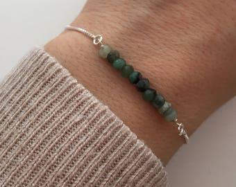 Emerald Jewelry- Raw Gemstone Bracelet - Adjustable Slide Bracelet - May Birthday Gift for Her - Best Friend Gift - May Birthstone -