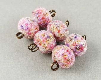 Antique Roses Sugar - Frosted Lampwork Bead Pair Iced Sugared - Artist Handmade
