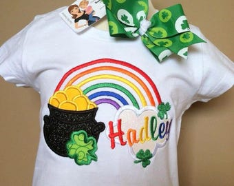 Personalized Lucky Pot of Gold Rainbow Shirt